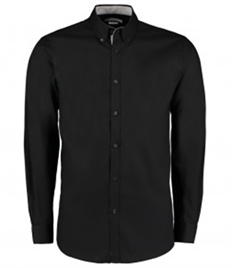 Kustom Kit Premium Long Sleeve Contrast Tailored Oxford Shirt