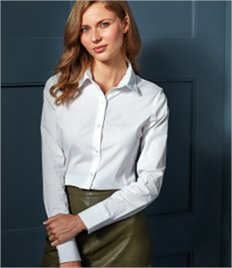 Premier Ladies Long Sleeve Stretch Fit Poplin Shirt