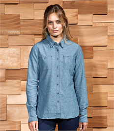 Premier Ladies Organic Fairtrade Certified Long Sleeve Chambray Shirt