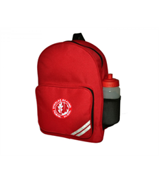Red Infant Backpack with embroidered logo