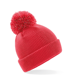 Junior reflective bobble beanie in Houghton Red