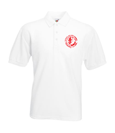 White polo with embroidered logo