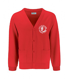 Red Cardigan with embroidered logo