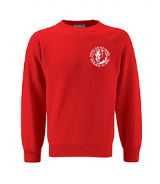 Red sweatshirt with embroidered logo