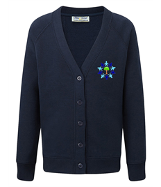 Navy Cardigan with Embroidered Logo