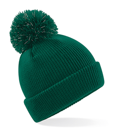 Junior reflective bobble beanie in Warboys Green
